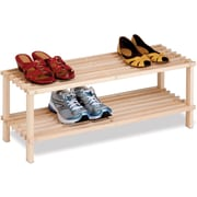 Honey Can Do 2-Tier Unfinished Natural Wood Shoe Rack
