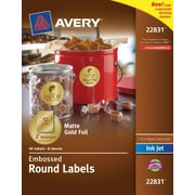 "Avery® Embossed Round Labels 22831, Matte Gold Foil, 2"" Diameter, Pack of 96"