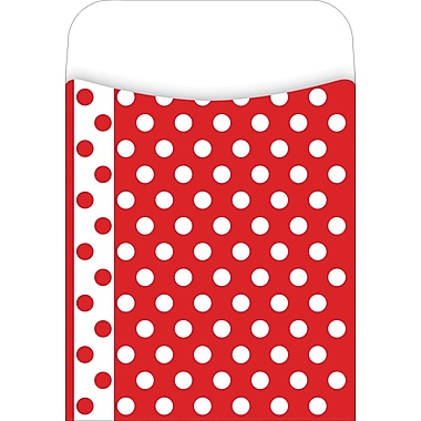 Barker Creek Peel and Stick Library Pocket, Red and White Dots Design