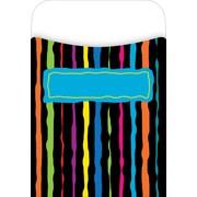 Barker Creek Peel and Stick Library Pocket, Neon Stripes Design