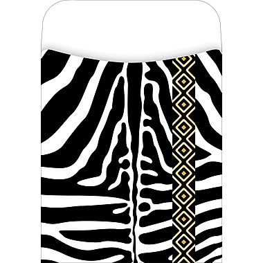 Barker Creek Peel and Stick Library Pocket, Zebra Design