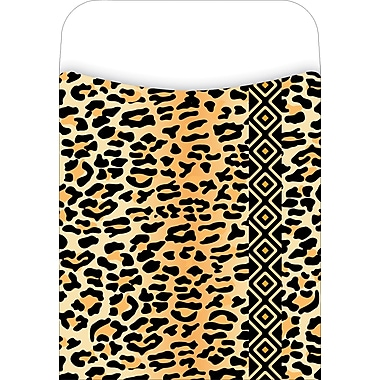 Barker Creek Library Pocket with Peel & Stick Label, Leopard Design
