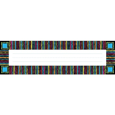 Barker Creek Neon Stripes Desk Tag, 12in. L x 3 1/2in. W