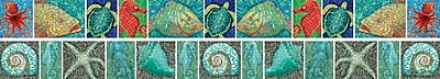 Barker Creek LL 967 35 x 3 Straight Surf s Up Coral Reef Double Sided Trim Multicolor