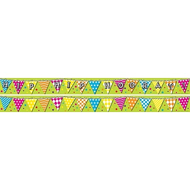 Barker Creek LL-968 35in. x 3in. Straight Hip Hip Hooray Double Sided Trim, Multicolor