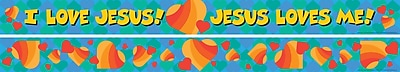 Barker Creek LL 976 35 x 3 Straight Jesus Loves Me Double Sided Trim Multicolor