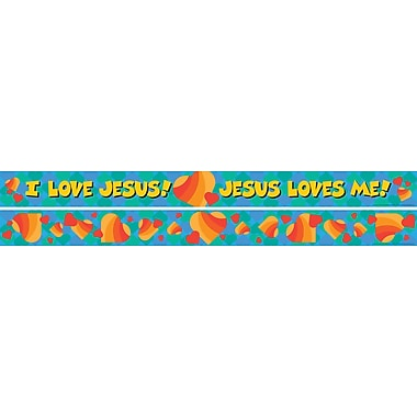 Barker Creek Jesus Loves Me Double Sided Trim, 35in. L x 3in. W