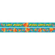 "Barker Creek LL-976 35"" x 3""Straight Jesus Loves Me Double Sided Trim, Multicolor"