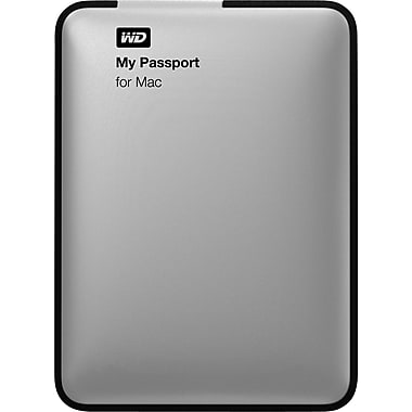 WD My Passport 1TB Portable USB 3.0 External Hard Drive for Mac, Silver (WDBLUZ0010BSL)