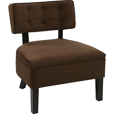 Office Star Avenue Six® Wood Curves Button Accent Chair, Chocolate Velvet