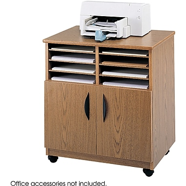 Safco® 1851 Medium Oak Mobile Machine Stand With Sorter