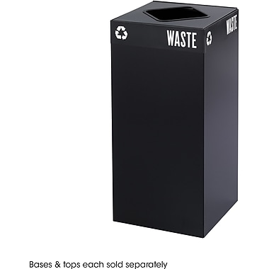 Safco® Public Square® 2982 Square Recycling Container, Black, 31 gal
