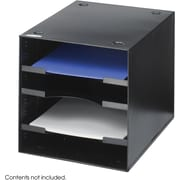 "Safco Steel Desktop Organizer, Black, 10"" H x 10"" W x 12"" D, 4 Compartments (3112)"