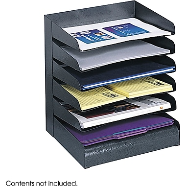 Safco® 3128 Black Desk Tray Sorter, 6 Compartments