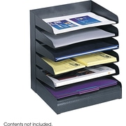 Safco® Black Desk Tray Sorter, 6 Compartments (3128BL)