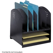 Safco® 3166 Black Combination Desk Rack, 2 Horizontal and 6 Upright