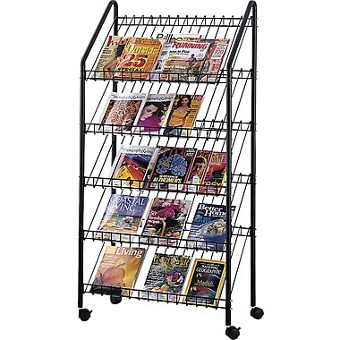 Safco® 4129 Mobile Literature Rack With 5 Pockets, Charcoal