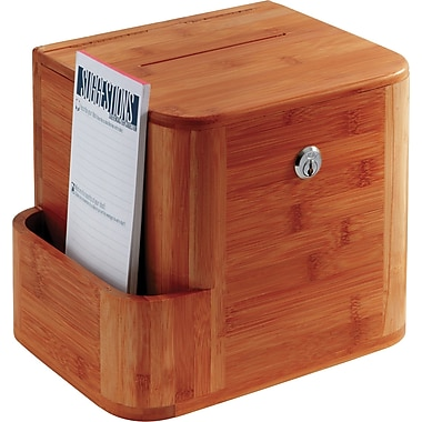 Safco® 4237 Bamboo Suggestion Box, Cherry