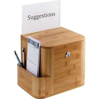 Safco® 4237 Bamboo Suggestion Box, Natural