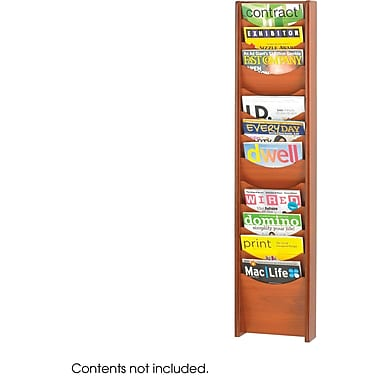 Safco® 4331 Magazine Rack With 12 Pockets, Cherry