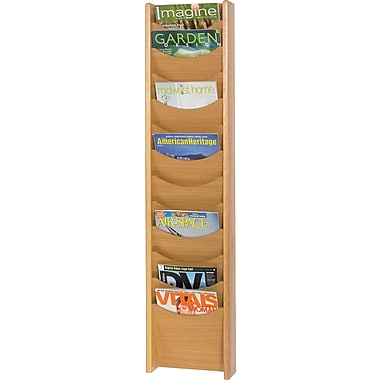 Safco® 4331 Magazine Rack With 12 Pockets, Medium Oak