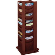 Safco® 4335 Rotary Magazine Display Rack, 48 Pockets, Mahogany