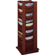 Safco 48-Pocket Solid Wood Rotating Display, Mahogany