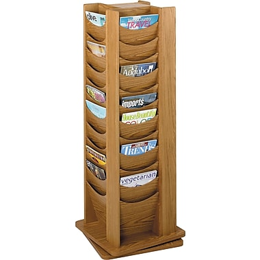 Safco® 4335 Rotary Magazine Display Rack, 48 Pockets, Medium Oak
