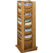 Safco 48-Pocket Solid Wood Rotating Display, Medium Oak