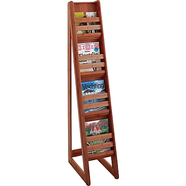 Safco 4-Pocket Bamboo Magazine Floor Display, Cherry