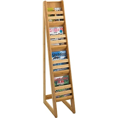 Safco® 4622 Magazine Floor Display, 4 Pockets, Natural