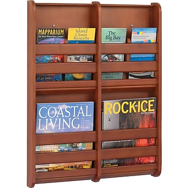 Safco® 4623 Magazine Wall Rack With 4 Pockets, Cherry