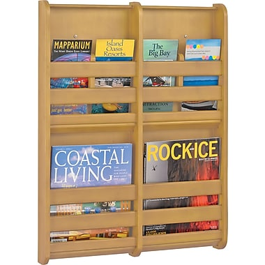 Safco 4-Pocket Bamboo Magazine Wall Rack, Natural
