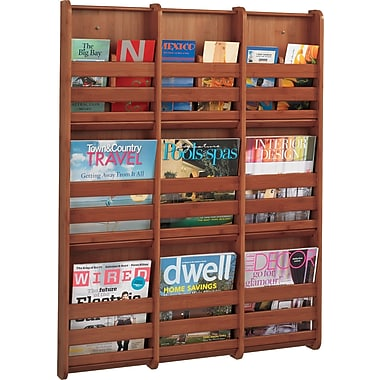 Safco 9-Pocket Bamboo Magazine Wall Rack, Cherry