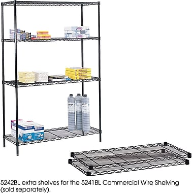 Safco® 5242 Steel Commercial Extra Shelf Pack, 48in.(W) x 18in.(D), Black