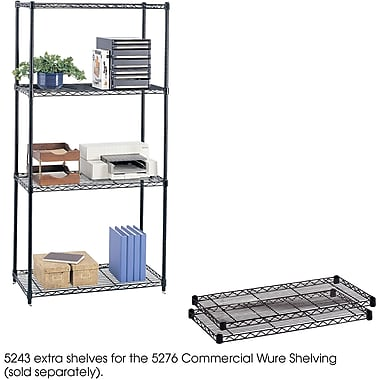 Safco® 5243 Steel Commercial Extra Shelf Pack, 36in.(W) x 18in.(D), Black