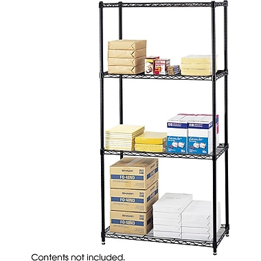 Safco® 5276 Steel Commercial Wire Shelving, 36in.(W) x 18in.(D), Black
