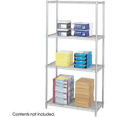 Safco® 5285 Steel Industrial Wire Shelving, 36in.(W) x 18in.(D), Metallic Gray