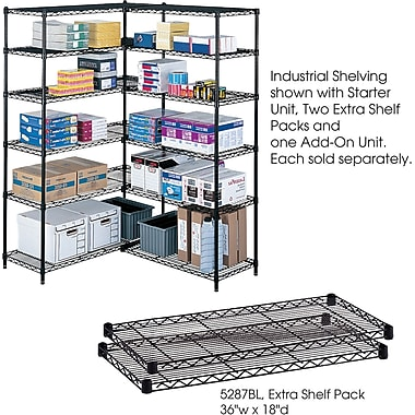 Safco® 5287 Steel Industrial Extra Shelf Pack, 36in.(W) x 18in.(D), Black