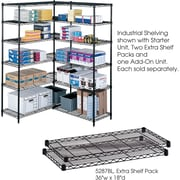 "Safco® 5287 Steel Industrial Extra Shelf Pack, 36""(W) x 18""(D), Black"