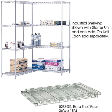 Safco® 5287 Steel Industrial Extra Shelf Pack, 36in.(W) x 18in.(D), Metallic Gray