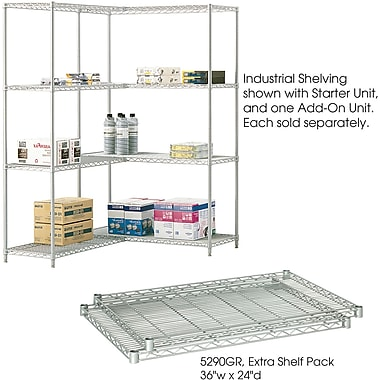 Safco® 5290 Steel Industrial Extra Shelf Pack, 36in.(W) x 24in.(D), Metallic Gray