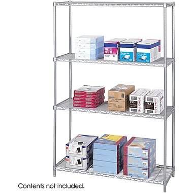 Safco® 5291 Steel Industrial Wire Shelving, 48in.(W) x 18 (D), Metallic Gray