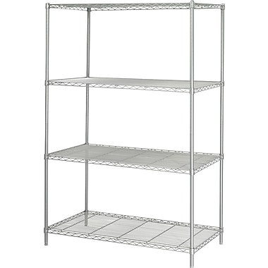 Safco® 5294 Steel Industrial Wire Shelving, 48in.(W) x 24in.(D), Metallic Gray