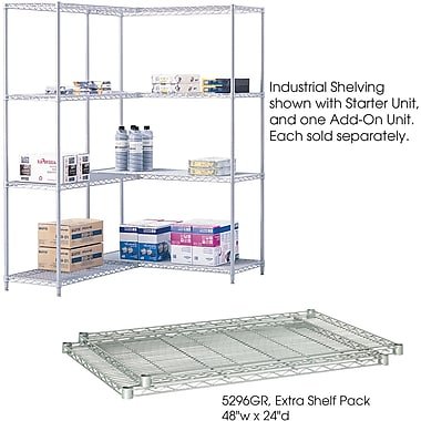 Safco® 5296 Steel Industrial Extra Shelf Pack, 48in.(W) x 24in.(D), Metallic Gray