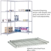 "Safco® 5296 Steel Industrial Extra Shelf Pack, 48""(W) x 24""(D), Metallic Gray"
