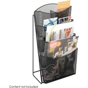 Safco 4-Pocket Onyx Steel Mesh Magazine Rack, Black