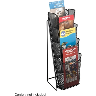 Safco 4-Pocket Onyx Steel Mesh Pocket Pamphlet Display, Black