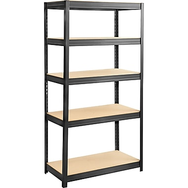 Safco® 6245 Boltless Steel and Particleboard Shelving, 36in.(W) x 18in.(D), Black