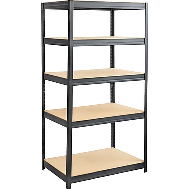 Safco® 6247 Boltless Steel and Particleboard Shelving, 36in.(W) x 24in.(D), Black